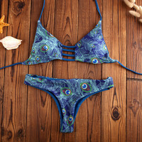Summer Peacock Print Swimsuit Vintage Bathing Suit Women Bikinis Set