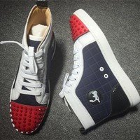 Cl Christian Louboutin Lou Spikes Style #2212 Sneakers Fashion Shoes