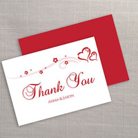 DIY Printable Wedding Thank You Card Template | Editable MS Word file | 3.5 x 5 | Instant Download | Red Heart Romance