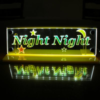 Made to order LED lighted night light One Custom Name Multicolor crescent moon with stars