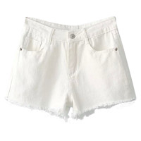 Ripped Hem White Shorts
