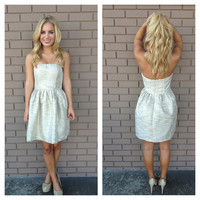 Champagne Gold Sparkle & Shine Holiday Strapless Dress