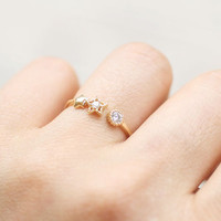 Tiny Moon and Stars with CZ adjustable size ring. Choose your color. Gold or Silver. DoubleBJewelry. Double B. DoubleB.