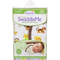 Summer Infant SwaddleMe Adjustable Infant Wrap - Small/Medium 7 - 14 lbs - Jungle White