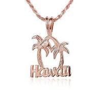 ROSE GOLD PLATED STERLING SILVER 925 HAWAIIAN PALM TREE HAWAII PENDANT