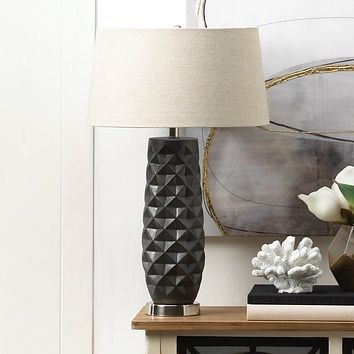 Porcelain Prism Table Lamp with Linen Shade