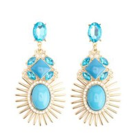 Sunburst Gem Drop Earrings by Charlotte Russe - Gold