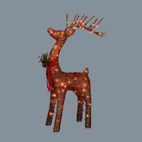 """48"""" Pre-Lit Standing Rattan Reindeer with Red Bow and Pine Cones Christmas Outdoor Decoration"""