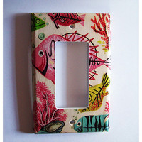 retro fish rocker switch plate cover vintage 1950's nautical kitsch rockabilly dimmer switch