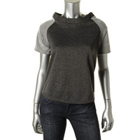 Casual Couture by Green Envelope Womens French Terry Metallic Casual Top