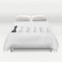 All white one black chess pieces Duvet Cover by PeculiarDesign
