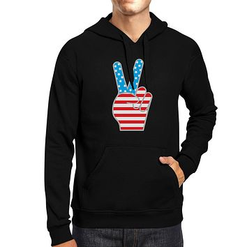 Peace Sign American Flag Hoodie Pullover Fleece Unisex Grey