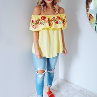 Ruffle My Hearts Top: Canary/Multi