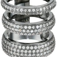 nOir Jewelry Three Circle Clear Cubic Zirconia Ring, Size 7