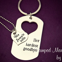 Favorite Hello, Hardest Goodbye - Hand Stamped Stainless Steel Set for Couples - His & Her Matching Necklaces - Long Distance/Deployments
