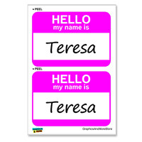 Teresa Hello My Name Is - Sheet of 2 Stickers
