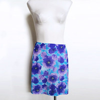 90s Floral Mini Skirt Exact Change Rave Club Skirt Purple and Blue Floral Pattern 1990 Goth Grunge Spice Girls