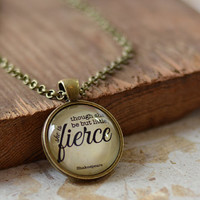 Though She Be But Little, She is Fierce Necklace, Shakespeare Quote Pendant, Quote Jewelry, Your Choice of Finish (1595)