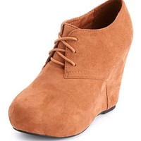 SUEDED LACE-UP WEDGE BOOTIE