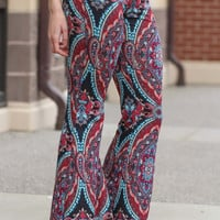 Maroon Bohemian Vintage Fitted Palazzo Pants