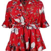 Plus Oriental Wrap Playsuit | Boohoo