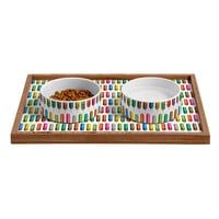 Raven Jumpo Rainbow Feathers Pet Bowl and Tray