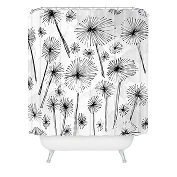 Julia Da Rocha Black Dandelion Shower Curtain