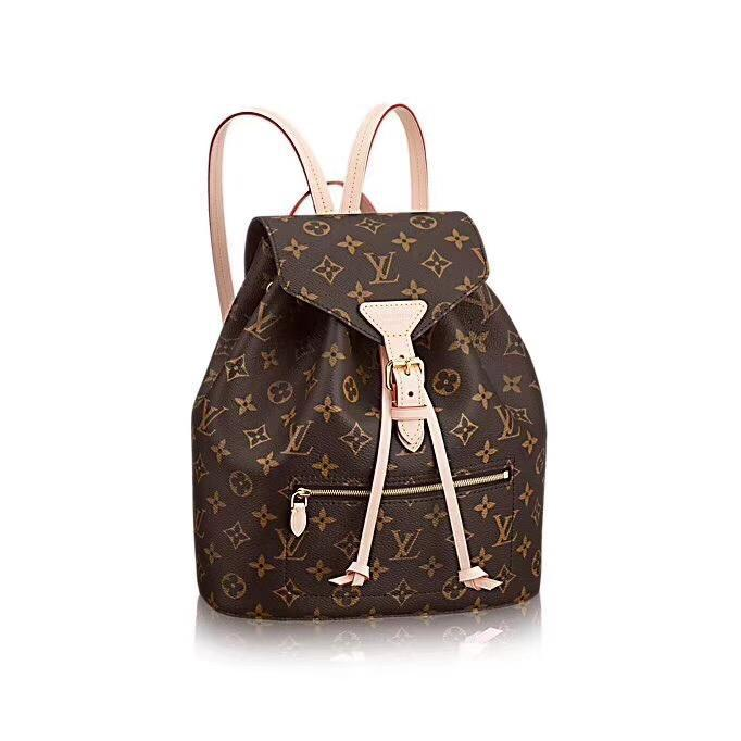 Image of LV Louis Vuitton Women Casual School Bag Cowhide Leather Backpack