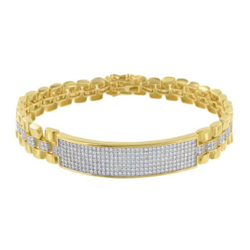 Gold Finish ID Bracelet Mens Presidential Link Simulated Diamonds Stylish Elegant 8 IN