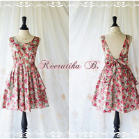 A Party Dress - V Shape Floral Print Sweet Floral Cotton Backless Dress Party Dress Prom Cocktail Bridesmaid Dress Floral Bridesmaid Dress