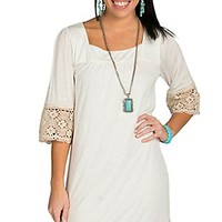Wrangler Women's Cream with Crochet Trim 3/4 Sleeve Dress