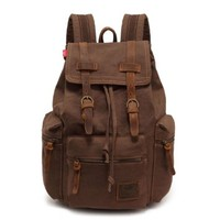 ZLYC Men's Vintage Canvas Backpack Rucksack School Bag Hiking Outdoors Backpack Bag