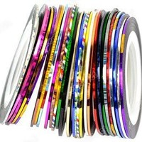 Start here 30Pcs Mixed Colors Rolls Striping Tape Line Nail Art Tips Decoration Sticker
