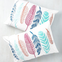 Only Gets Feather With Time Pillowcase Set by ModCloth
