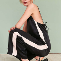 Silence + Noise Side Stripe Satin Slip Jumpsuit - Urban Outfitters