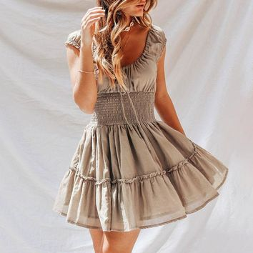 Vintage pleated grown women dress Lace up smocking high waist mini dress Linen khaki short casual dress vestidos