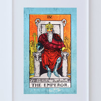 Tarot Print The Emperor Retro Illustration Art Rider Print Vintage Giclee on Cotton Canvas or Paper Canvas Poster Wall Decor