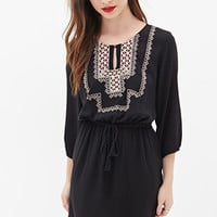 FOREVER 21 Embroidered Peasant Dress Black/Cream