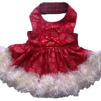 Christmas Dog Clothes Red Sparkle Holiday Dress Size Medium OOAK