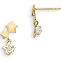 14K Yellow Gold CZ Accented Triple Star Girls Dangle Earrings | Body Candy Body Jewelry