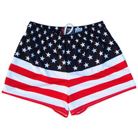 Womens American Flag 50/50 Flag Sport Shorts