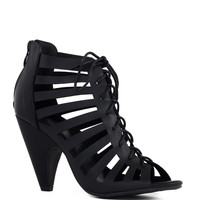 Brittania Lace Up Heels - Black