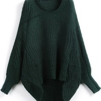 Green Long Sleeve Loose Sweater