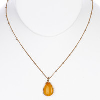 NECKLACE / NATURAL STONE / TEARDROP PENDANT / METAL SETTING / LINK / CHAIN / 18 INCH LONG / 1 1/4 INCH DROP / NICKEL AND LEAD COMPLIANT