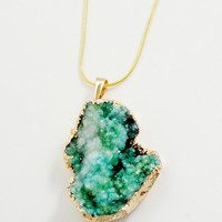 Green Chunky Druzy Druze  Edged Dipped Gold Pendant, Green Drussy Drusy Stone Pendant, Select With Or Without Chain