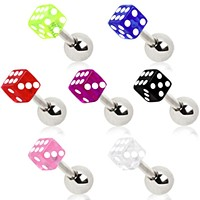 UV Acrylic Dice Cartilage Earring