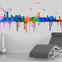 Chicago skyline Watercolor, decal for housewares