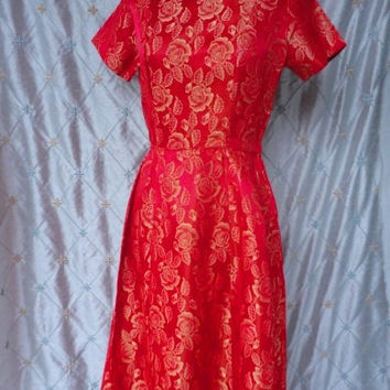 ON SALE 50s Dress // 50s Party Dress // Vintage 1950s Red and Gold Satin Brocade Party Dress with Three Bows at Back by Carol Rodgers Junior