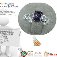 Sterling Silver .925 Silver Emerald Cut Amethyst Ring - size 7.5 - FREE GIFT - Christmas Gift 100% Money Back