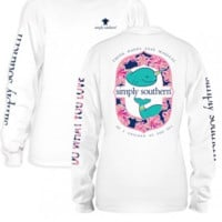"Simply Southern Long Sleeve ""Narwhal"" Tee - White"
